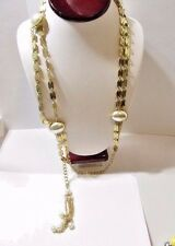 Necklace Or Vintage Long Chain Belt Gold Tone Metal Faux Pearl Tassel 1970S Mcm