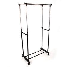 Adjustable Rolling Clothes Rack Double Bar Hanging Garment Hanger Space Saving