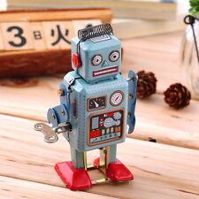 Vintage Mechanical Clockwork Wind Up Metal Walking Robot Tin Toy Kids Gift FD
