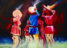 Indiano dipinto ad olio su tela, con texture, Spatola, Danza musicale.
