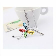 18K White Gold GP Made With Swarovski Crystal Colorful Butterfly Long Necklace