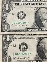 2-Star notes $1 dollar Bills 2013 Replacement Rare Great Gift!Protective Case