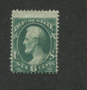 1873 United States State Dept. Official Stamp #O60 Mint Hinged Disturbed OG