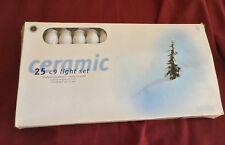 25 White C9 Lights 24' Ceramic Light Set indoor/outdoor end to end New