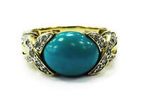 14K Yellow Gold Diamond & Oval Turquoise Ring ~4.2g
