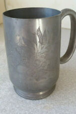 ANTIQUE  / VINTAGE PEWTER ALE / BEER TANKARD-  CHINESE DRAGON- HUT HING SWATOW