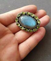 Beautiful Vintage Solid Silver Labradorite &  Peridot Stones Pin Brooch 17.5g
