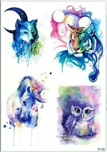 4x ANIMAL Temporary Tattoos 🇬🇧 A5 Sheet Adult Body Art Horse Tiger Wolf Arm 💌