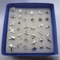 New Wholesale lots Bulk 24 Pairs Unisex Mix Styles Silver Plated Stud Earrings