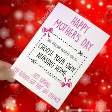 Funny Mother's Day Card Funny Card For Mum Nursing Home Jokes Fun Banter PC258