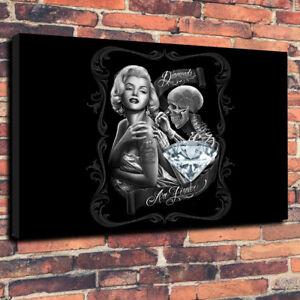 "Marilyn Monroe Diamonds Tattoo Printed Canvas Picture A1.30""x20""30mm Deep Art"