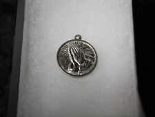 .925 Sterling Silver Round Praying Hands Charm 4.7 grams
