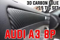 AUDI A3 8P ORIGINAL 3D CARBON FOLIEN ZIERLEISTEN SET, 15T 4-TÜRER