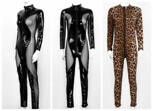 Women Leather Catsuit One Piece Jumpsuit Leopard Print Bodysuit Wetlook Clubwear