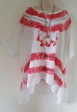 Italian Lagenlook White Pink  Cotton Tunic Top Tie Dye Oversized 24 26 28 30