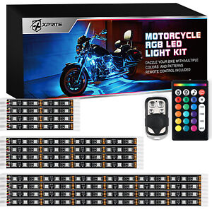 12Pcs RGB LED Underbody Glow Lights Strip Kit Remote Control for Harley Davidson