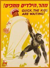 Zoo Tel-Aviv Chimpanzee Israel Vintage Travel Advertisement Art Poster Print