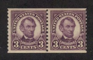 Scott #  600  beautiful pair of Lincolns never hinged
