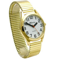 Men's Super-Clear Quartz Watch by Ravel with Expanding Bracelet Goldtone 21
