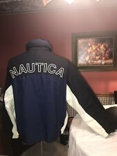 VINTAGE Nautica Sailing Jacket Adult Large Blu/Whit  Hidden Hood Spell Out 90s