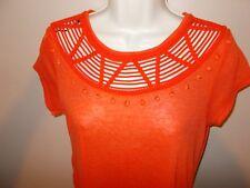 New H&M Womens Size S Unique Neckline Orange Top Cap Sleeves