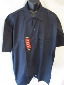 Dickies Polyester Navy BIG 3XL Short Sleeve Work Shirt NEW w/Front Tag