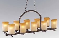 10-light linear Veranda style chandelier  with rustic glass candle shades