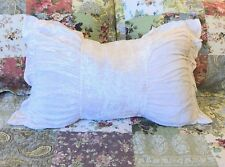 Shabby French Provincial Chic White Velvet Rectangle Ruched Frill Bed Cushion Nw