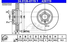 ATE Juego de 2 discos freno Antes 313mm ventilado para SEAT ALHAMBRA