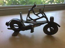 Metal Art Steampunk Spark Plug Folk Art Sculpture Man On Bike