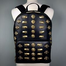 GUCCI Black Animal Studs Backpack Leather Gold Metal Cicadas Moths Bees Lions