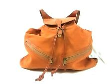 Auth IL BISONTE Brown Canvas &  Leather Backpack