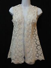 THE KOOPLES Womens Cream Floral Lace Open Front Sleeveless Top Size XS
