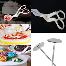 3Pcs Icing Piping Nozzle Scissors Flower Stand Nail Cake Decorating Craft Tools