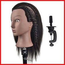 Afro Mannequin Head 100% Real Hair Hairdresser Training Head Manikin Cosmetology
