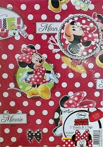 Minnie Mouse Disney Gift Wrap 2 Sheets 2 Tags Wrapping Paper For Any Occasion