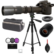 TELESCOPIC TELEPHOTO ZOOM LENS 500-1000MM + XL BAG+ 60' TRIPOD FOR CANON T5 T6