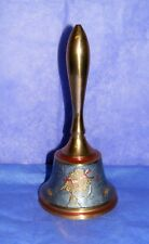 """Vintage Brass Hand Bell Enameled """"Trumpet & Bow"""", Made In India"""