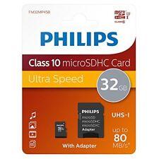 Philips 32GB clase 10 micro tarjeta memoria SDHC con SD adaptador Fm32mp45b