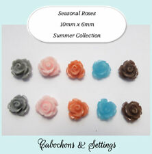 Resin Cabochon 5 Pairs 5 Colours Aussie Summer Roses Beads, Beading