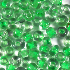 Perles de Rocailles en verre Transparent 4mm Centre Vert clair 20g (6/0)
