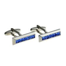 Stylish Blue Crystals Bar Fashion Cufflinks  X2F040
