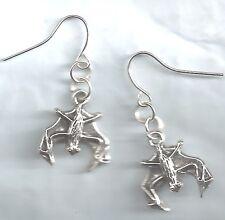 Little Hanging Bat earrings-dk silver tibetan alloy metal charm drop/dangle/hook