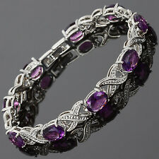 Christmas Gift Charming! Purple Amethyst White Gold Gp Tennis Bracelet Jewelry