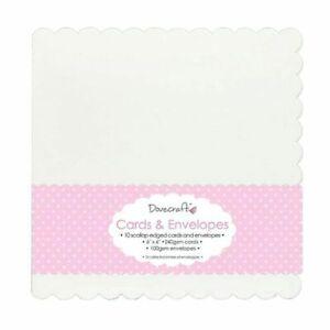 "10 Dovecraft 6"" x 6"" Cards & Envelopes – Scallop Edge White New"
