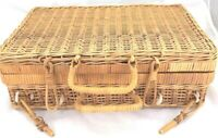 Wicker Rattan Picnic Basket Suitcase Type Vtg Cottagecore British Hong Kong