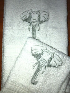Embroidered Bathroom Hand Towel and Wash Cloth Set African Gray Elephant H1438R