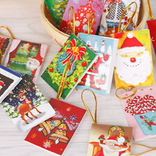 10x Christmas Tree Cards Santa Claus Folding Greeting Rope Hanging Blessing Gift