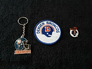 Denver Broncos Patch, Pin And Key Chain
