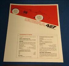 NOS Original  Shelby Cobra 427 Brochure RARE Ford
